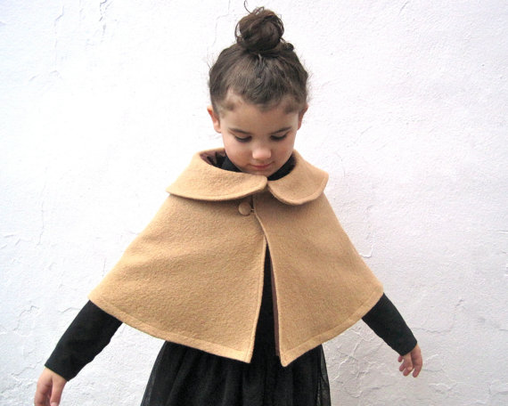 Fall Winter Girls Cape with Peter Pan Collar by SewnNatural