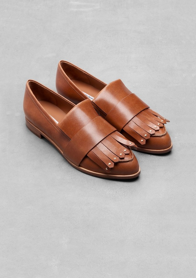 & Other Stories | Fringe Leather Loafers | Light Brown