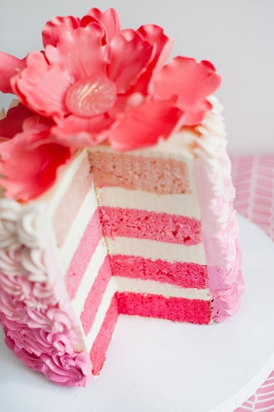 sweet as can be / pink and white layer cake w/ pink flower on top!