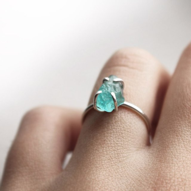 Fancy - Sterling Silver Organic Blue Apatite Ring