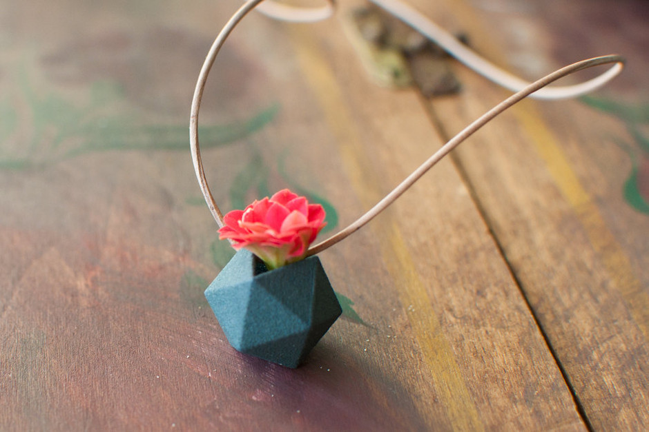 Miniature Icosahedron in Aqua A Wearable by wearableplanter