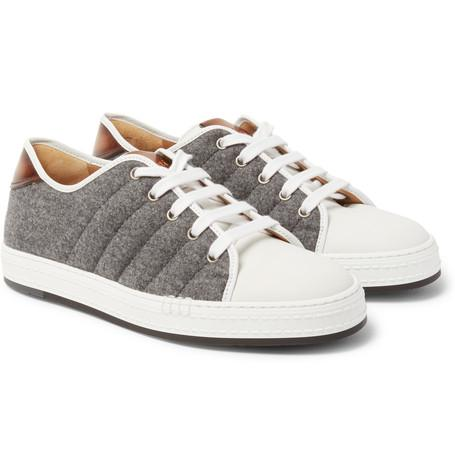 Berluti - Felt, Polished-Leather and Rubber Sneakers