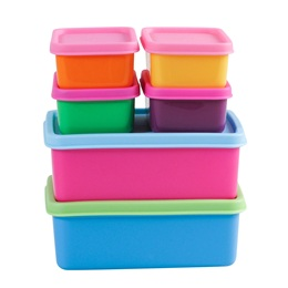 6 Plastic Food Boxes in Assorted Colours - Rice A/S