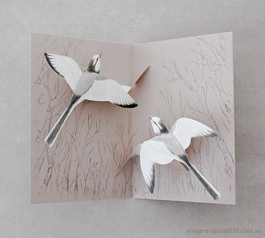 tobidustry tree white wagtail pop-up card - shop - upon a fold