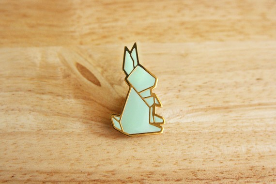 Rabbit origami Pin by hugaporcupine on Etsy