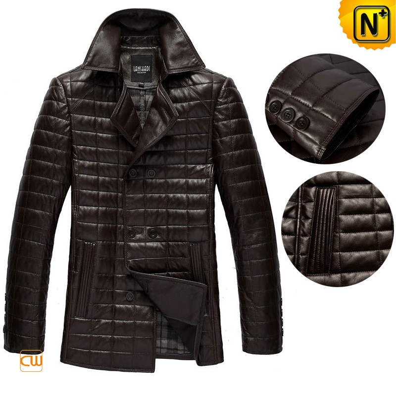 Men's Designer Quilting Checkered Leather Trench Coat CW880060