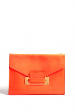 Sophie Hulme | Coral Soft Leather Envelope Clutch Bag With Gold Plated Hard