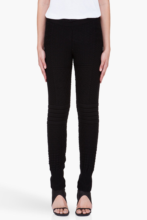 MM6 Maison Martin Margiela Black Knit Wool Lounge Pants for Women | SSENSE