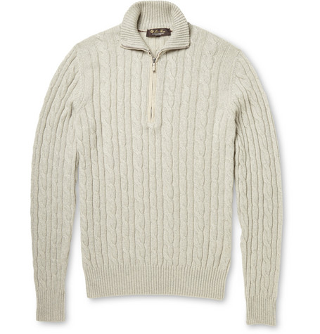 Loro Piana - Cable-Knit Baby Cashmere Half-Zip Sweater | MR PORTER