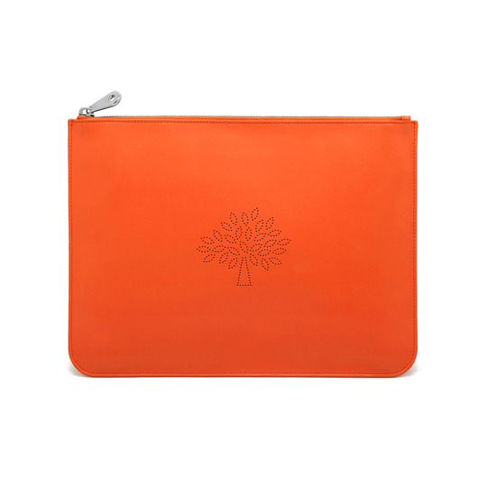 Large Blossom Pouch in Mandarin Calf Nappa | Blossom | Mulberry