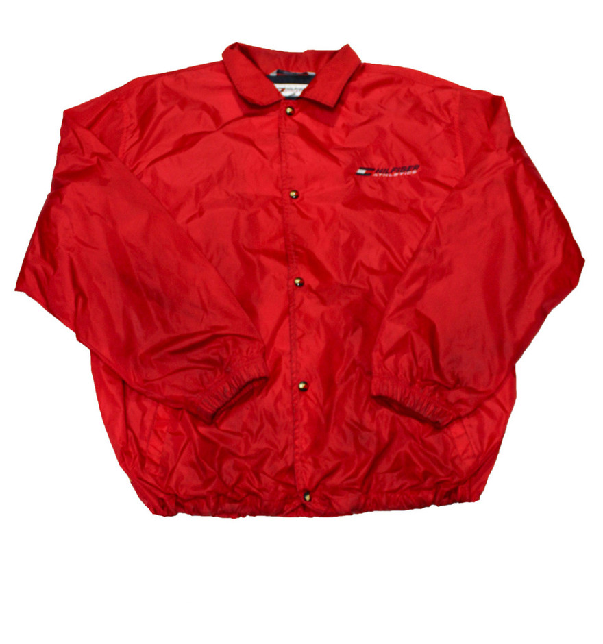 Vintage 90s Red Tommy Hilfiger Windbreaker Jacket Mens Size XXL | Vintage Mens Goods