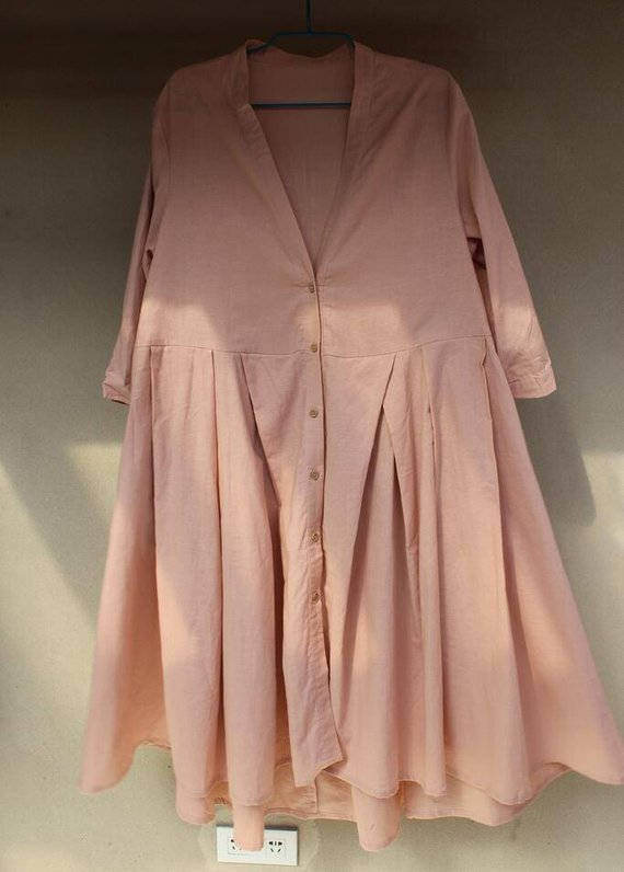 Shirt dress in Pink Plus Size dresslong Shirt Linen top