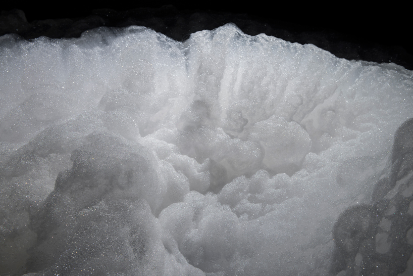 kohei nawa forms a cloud-like landscape made of foam