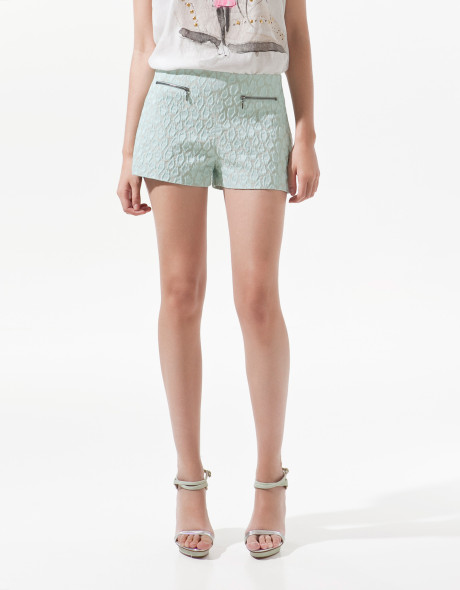 Zara Jacquard Pattern Shorts in Blue (sea) | Lyst