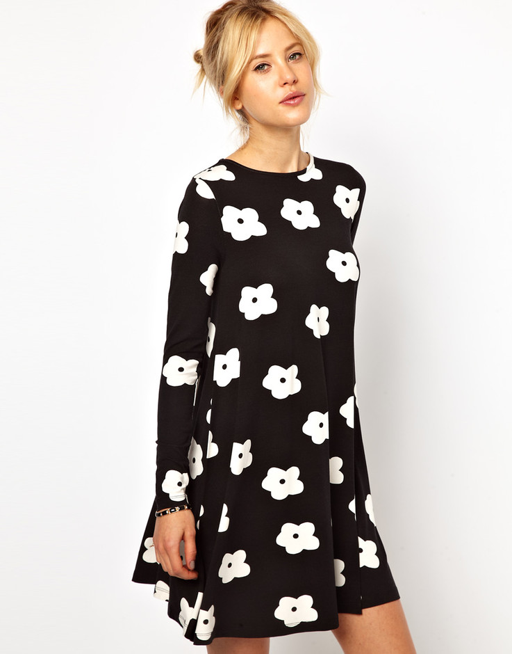 ASOS | ASOS Swing Dress In Monochrome Flower Print at ASOS