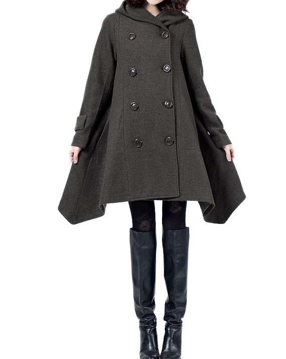 Double breasted Hoodie wool coat/ winter wool coat/ army by MaLieb