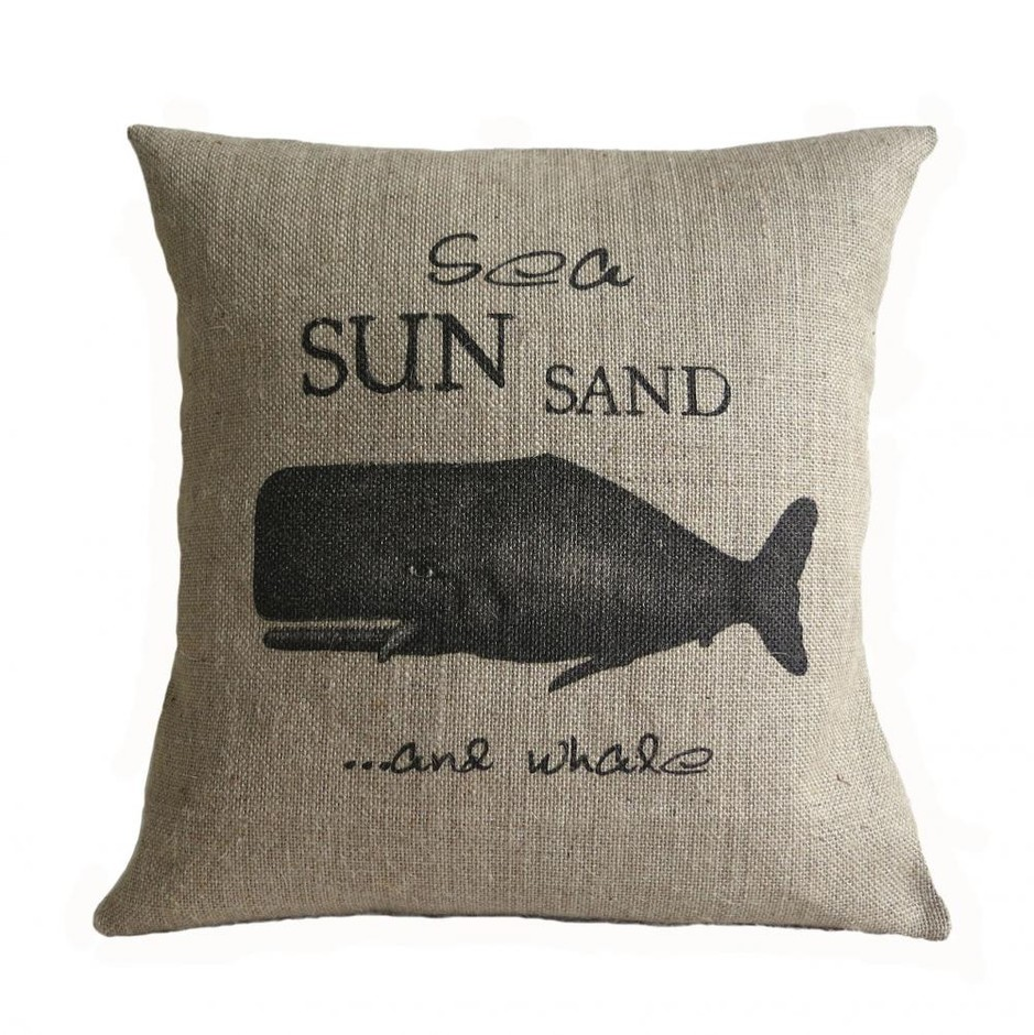 Sea Sun Sand And Whale Nautical Burlap Pillow Cover | Luulla