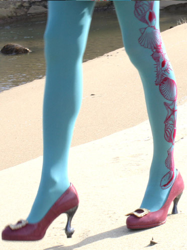 Shell Side Print Tights(貝殻サイドプリントタイツ) セイジ - Eine Lilie'sWebShop