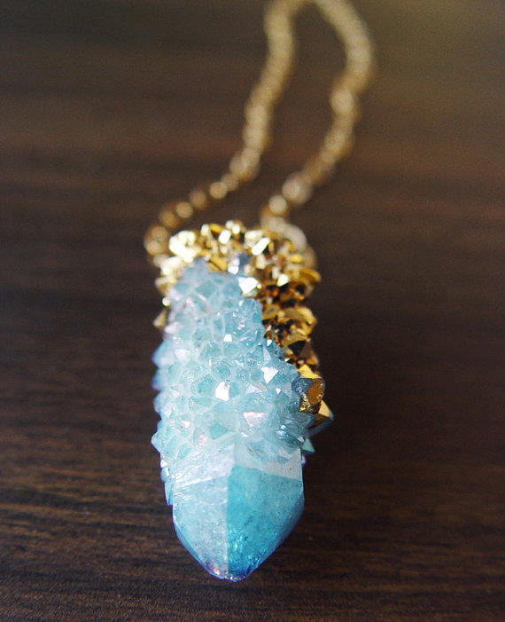 Spirit Quartz Druzy Gold Dipped Necklace by friedasophie on Etsy
