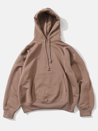 BAGGY POLYESTER SWEAT P/O PARKA[BROWN]