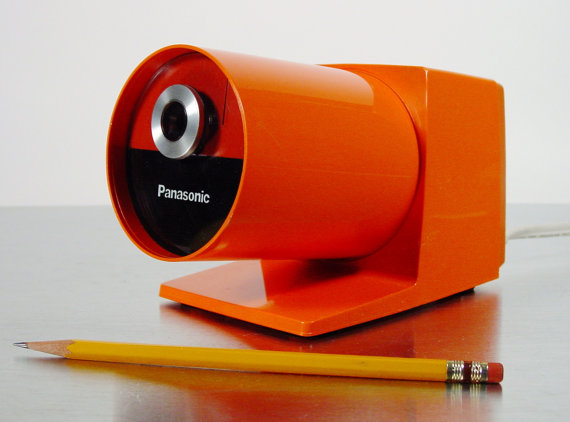 Midcentury Modern Orange Electric Pencil Sharpener by ClubModerne