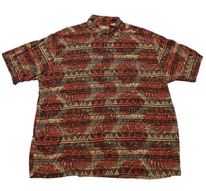 Vintage 1990s 90s Tribal Print Rayon Button Up Shirt Mens Size L Large | eBay