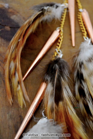 francisfrank Gold Arrows Long Feather Earring - Fabfive ファブファイブ