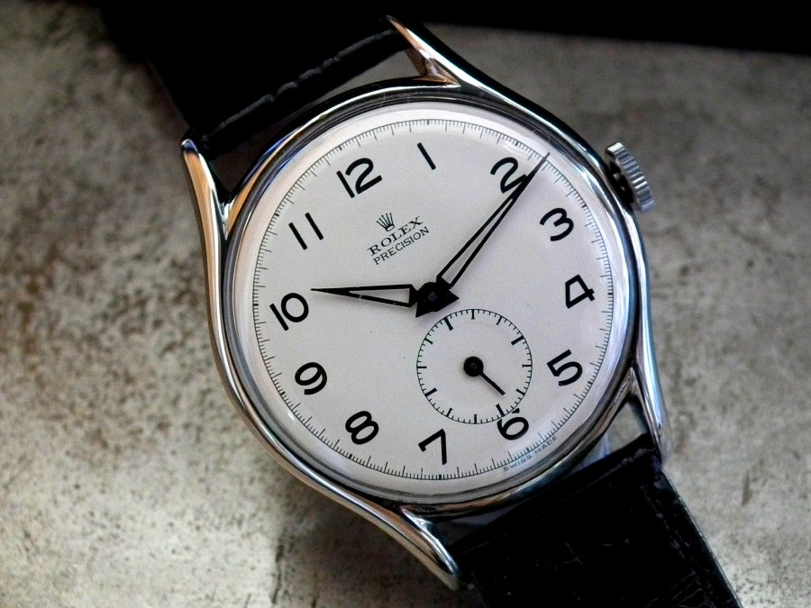 Stunning 1940′s Oversize Solid Steel Rolex Precision Subsidiary Second Gents Vintage Watch | Sonning Vintage Watches