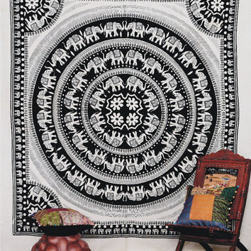 Elephant Mandala Tapestry, Bedcover, wall hanging, Indian Tapestry, Throw Bedspread, Picnic Blanket, Etchnic Decor Mandala art, Wall Decor on Wanelo