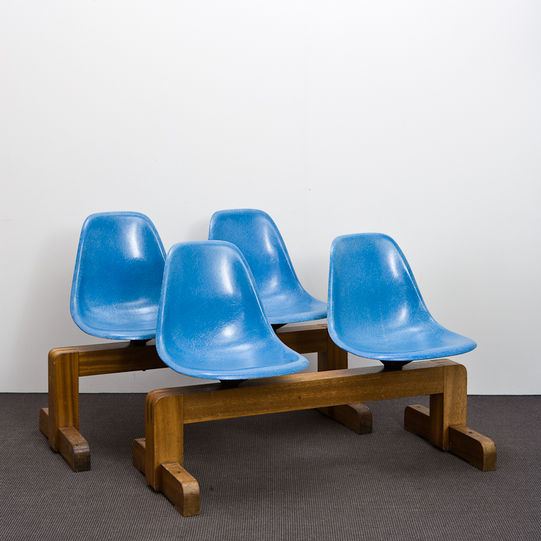 Wooden University Tandem Bench 1950s with Fiberglas Side Shells by Charles Eames for Herman Miller
