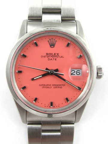 Rolex SS Oyster Perpetual Date ref 15000 circa 1981 Custom Colored Dial