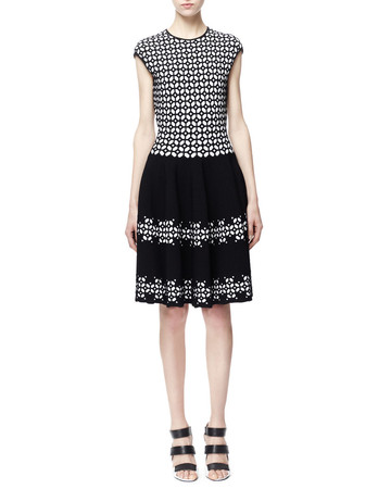 SS2014 Fit-and-Flare Jacquard Dress, Black/White