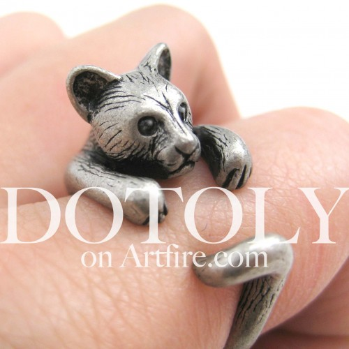 3D Kitty Cat Animal Ring in Silver - Sizes 5 to 9 Available | dotoly - Jewelry on ArtFire