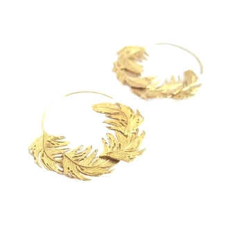 Alex Monroe | Classic Feather | Extra Large Feather Hoops