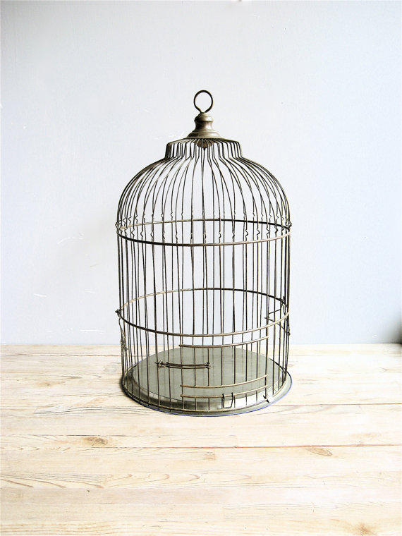 Vintage Large Brass Birdcage by lovintagefinds on Etsy