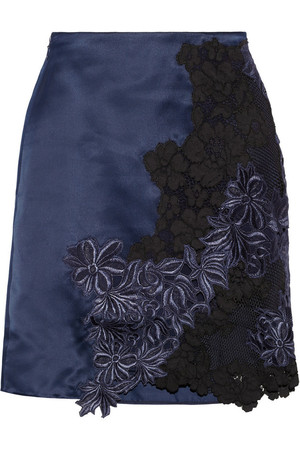 Silk-satin and guipure lace mini skirt