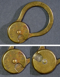"SOLD OUT - Pat.1879 Brass ""Rotating"" Key Ring - FUNNY SUPPLY □ Antiques ■"