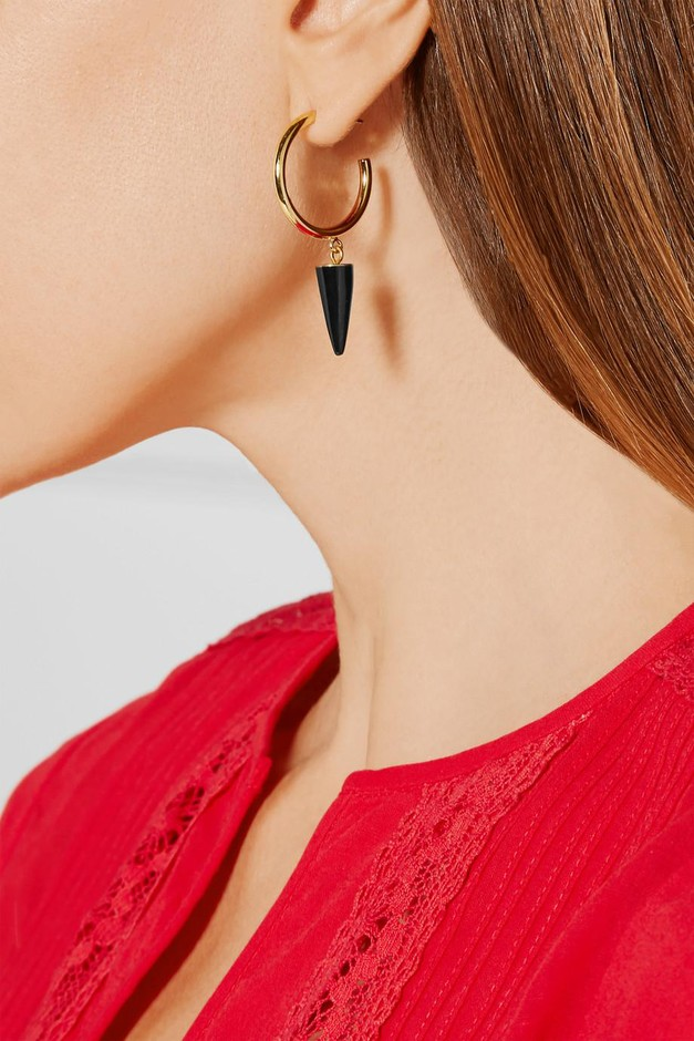 Isabel Marant | Gold-plated onyx hoop earrings  | NET-A-PORTER.COM