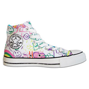 Converse All Stars - 'Chalk Board' Print High Top Boot (White) - Polyvore
