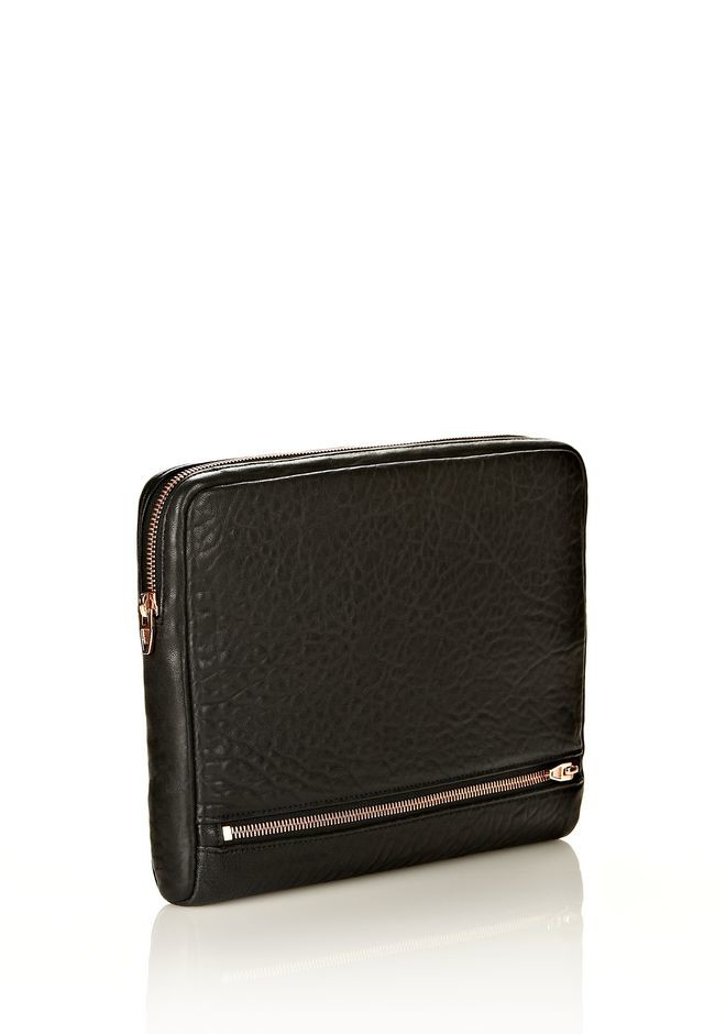 FUMO IPAD CASE IN BLACK PEBBLE LEATHER WITH ROSEGOLD - Tech Women - Alexander Wang Online Store