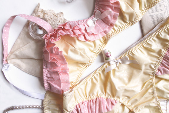 Bra and Panties Set 'Clio' in Sunshine Yellow and Pink by ohhhlulu