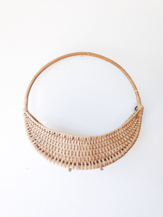 Mid Century Planter Basket boho circular hanging by ethanollie
