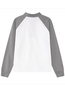 Stand Collar Contrast Sleeve Grey White Sweatshirt