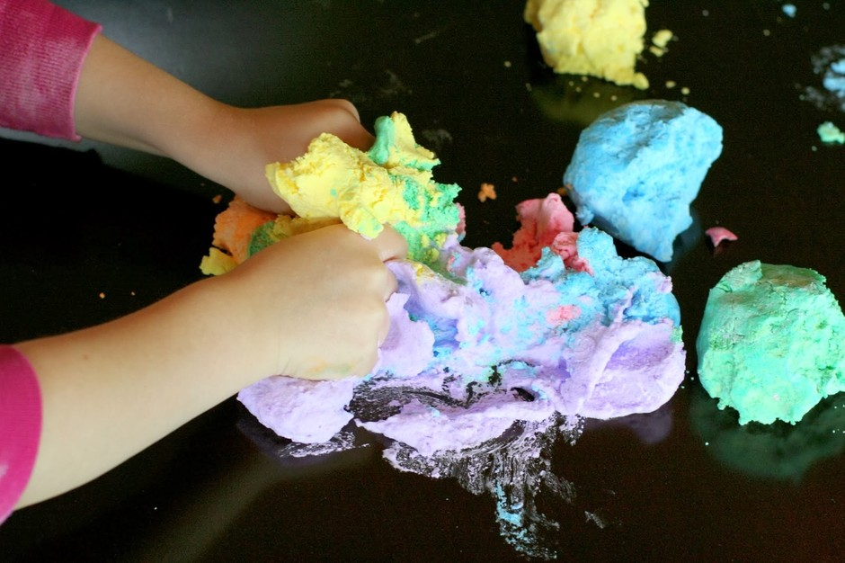 Rainbow Soap Foam Bubbles Sensory Play