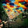 FLOATING UMBRELLA INSTALLATION IN THE STREETS OF AGUEDA