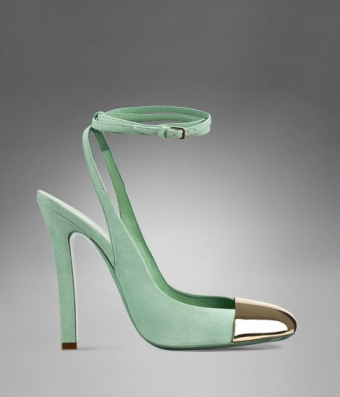 【LASO ラソ】 ◆ Yves saint laurent ◆Ingenue High Heel Ankle Strap in Pale Green Suede & Brass イヴサンローラン