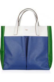 Anya Hindmarch|Nevis color-block leather tote|NET-A-PORTER.COM
