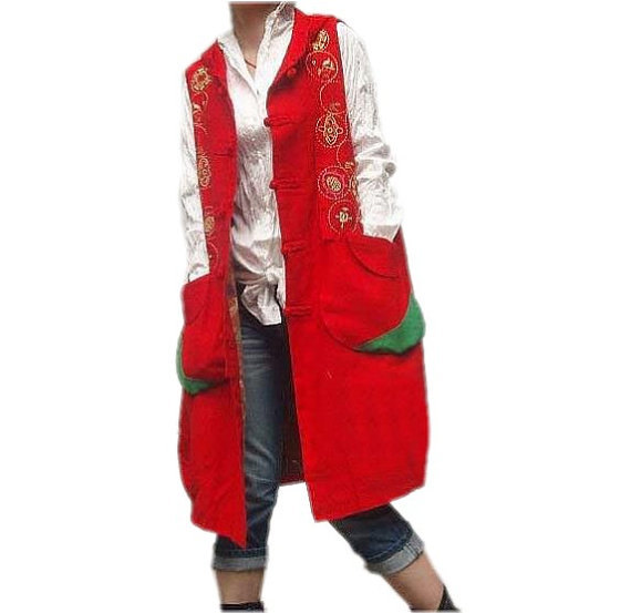 Red loose hooded vest long Hooded sleeveless large size