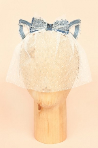 【LASO ラソ】◆MAISON MICHEL◆Denim and Lace Cat Headpiece メゾン・ミッシェル