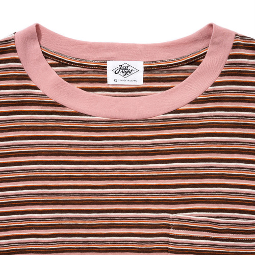 """Just Right """"Multi Border Tee S/S"""" Brown x Pink   Just Right"""